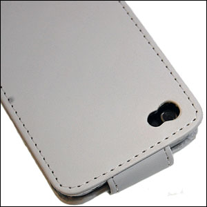 iPhone 4 Leather Flip Case - White