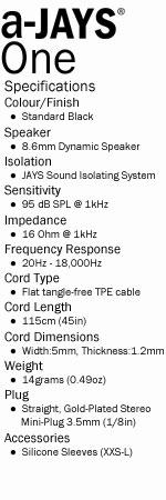 a-Jays One Heavy Bass Impact Earphones