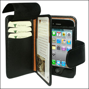brand new 9b7a4 9957f Piel Frama Leather Wallet Case for Apple iPhone 4S / 4 - Black