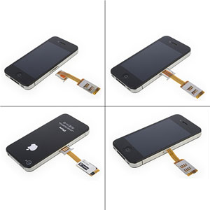 Dual SIM Card Adapter With Back Case - iPhone 4s / 4