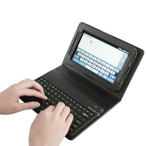 KeyCase Faux Leather Case for Samsung Galaxy Tab with Bluetooth Keyboard - Black