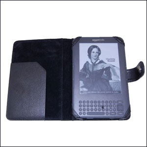 Leather Style Cases with Light for Amazon Kindle - Black