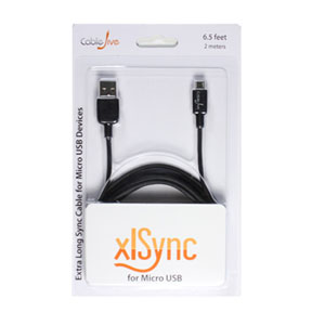 CableJive xlSync Extra Long 2M Sync Cable for Micro USB Devices - Black