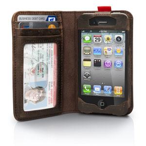 Funda iPhone 4S / 4 estilo Libro de la marca Twelve South - Marrón