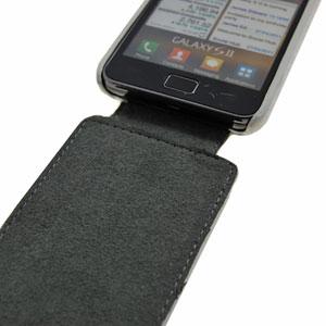 Slimline Carbon Fibre Style Flip Case for Samsung Galaxy S2 - White