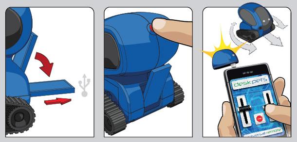 Tanque Robot controlado mediente Apps de la marca DeskPets - Naranja