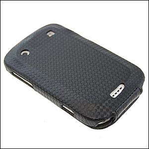 SlimLine Carbon Fibre Flip Case For BlackBerry Bold 9900 - Black