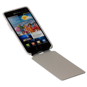 Flip Cover officielle Samsung Galaxy S2 - Grise / blanche '(ouverte)