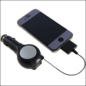 Retractable Car Charger With USB Port - iPhone/iPod