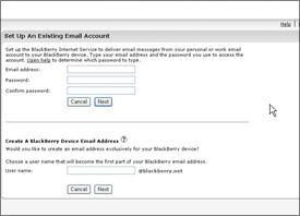 Creating BlackBerry BIS Account - Enter Existing Email Details