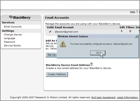 Creating BlackBerry BIS Account - Confirmation
