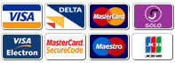 Cards accepted: Visa, Visa Delta, Mastercard, Switch, Solo, Maestro, JCB & Visa Electron