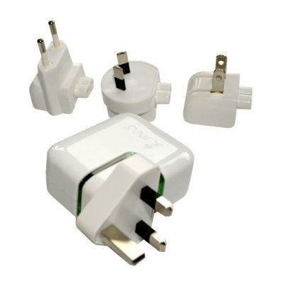 Chargeur de Voyage International Jivo World Power Dual USB - Blanc