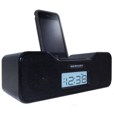 ipod iphone alarm clock speaker system. Black Bedroom Furniture Sets. Home Design Ideas