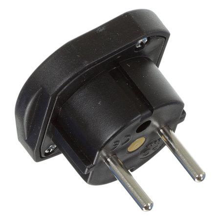 Portable UK to Euro Mains Travel Adapter Plug - Black