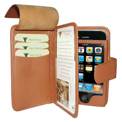 Piel Frama Leather Wallet Case for Apple iPhone 4 - Tan