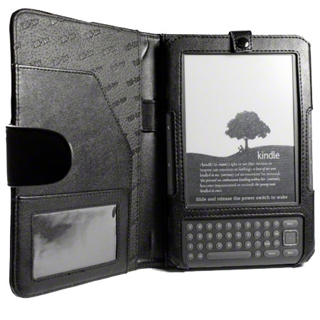 Tuff-Luv Book-Style Leather Case Cover - Amazon Kindle Keyboard - Black