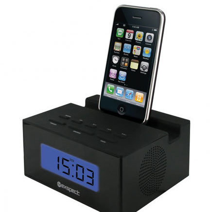 Exspect Compact Clock Radio for iPod and iPhone