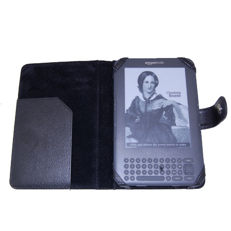 Leather Style Case with Light for Amazon Kindle Keyboard - Black