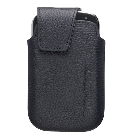 BlackBerry Bold 9900 Leather Swivel Holster - Pitch Black
