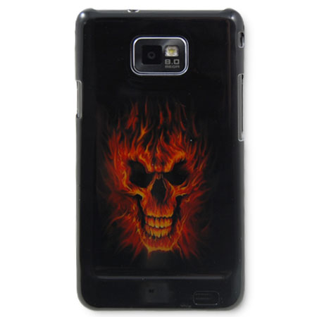 Protective Back Cover for Samsung Galaxy S2 - Flaming Skull