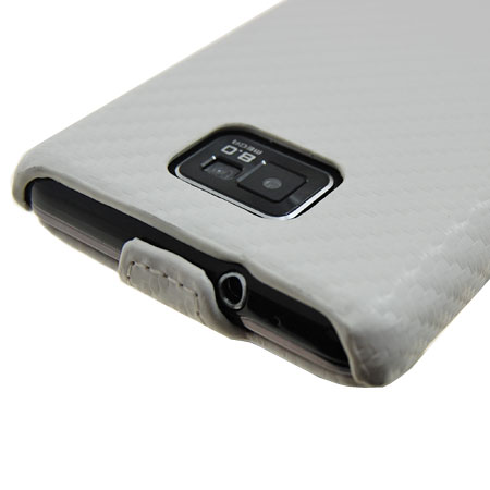 Slimline Carbon Fibre Style Flip Case for Samsung Galaxy S2 - White