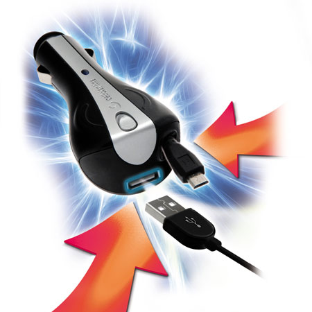Cellular Line Retractable In Car Charger with USB port - Micro USB