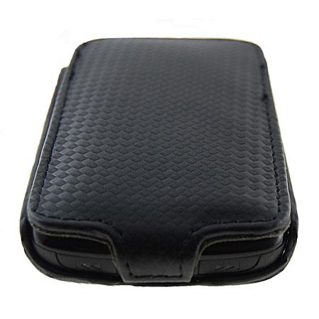 Slimline Carbon Fibre Flip Case for BlackBerry Curve 8520 - Black