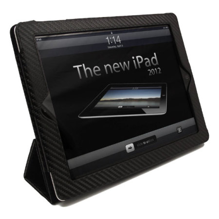 Carbon Fibre Style iPad 4 / 3 / 2 Case - Black