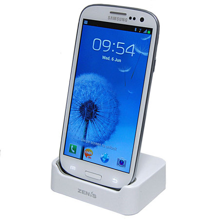 Zenis Case Compatible Desk Dock For Samsung Galaxy S3 - White