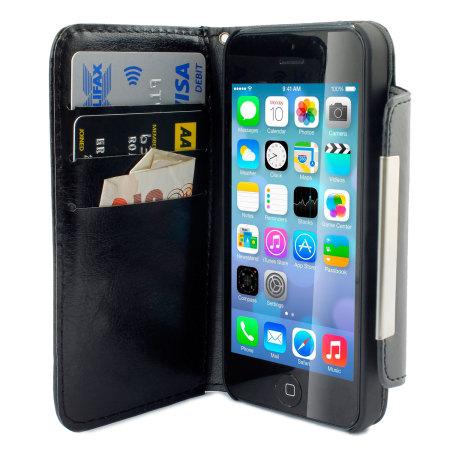 iphone 5 5s ledertasche im brieftaschendesign in schwarz. Black Bedroom Furniture Sets. Home Design Ideas