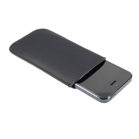 SD Suede Style Pouch Case for iPhone 5S / 5 - Black