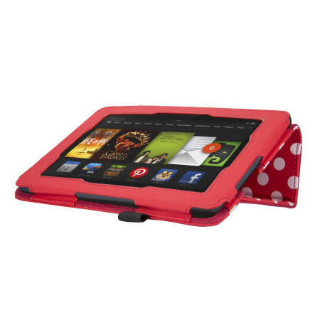 Adarga Folio Stand Kindle Fire HD 2013 Case - Red Polka Dot