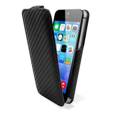 new concept 9b428 42896 Slimline Carbon Fibre Style iPhone 5S / 5 Flip Case - Black