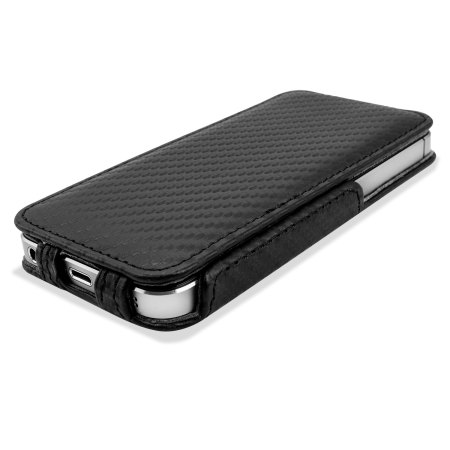 new concept 60650 22478 Slimline Carbon Fibre Style iPhone 5S / 5 Flip Case - Black