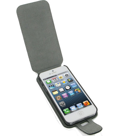 PDair Leather Case for Apple iPhone 5S / 5 Flip Type With Clip - Black