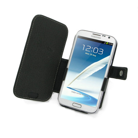 Real Leather Case for Samsung Galaxy Note 2 - Book Type Black