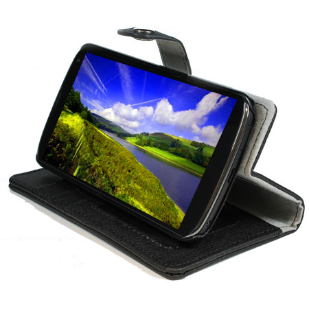 Leather Style Wallet / Stand Case for Google Nexus 4 - Black