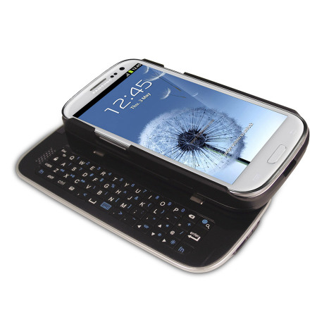 Wireless Sliding Keyboard and Case for Samsung Galaxy S3 - Black
