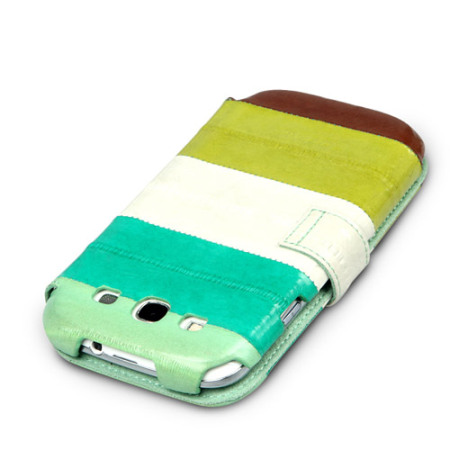 Zenus Prestige Leather Samsung Galaxy S3 Eel Diary Series Case - Green