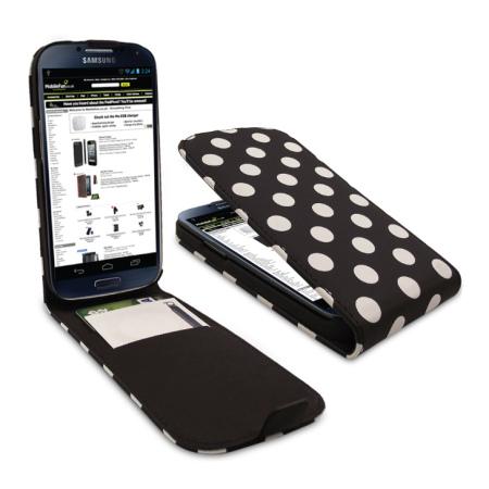 Polka Dots Flip Case For Samsung Galaxy S4 - Black