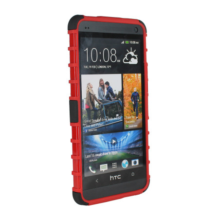 ArmourDillo Hybrid Protective Case for HTC One - Red