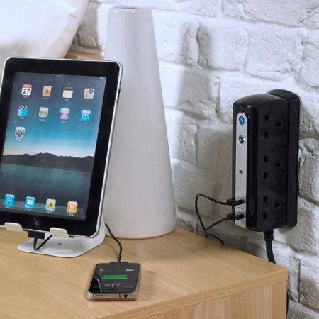 Masterplug Surge Protected 6 Plug Power Block with Dual USB - Black