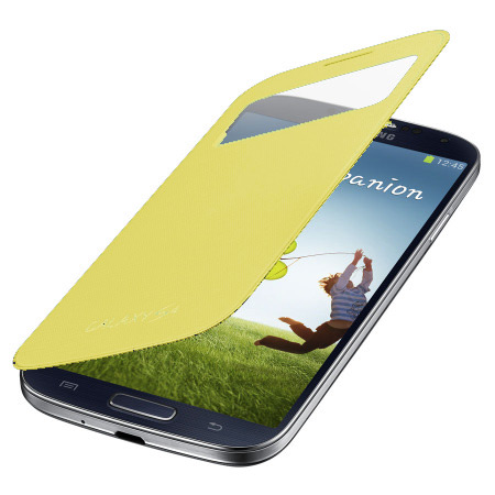 Official Samsung Galaxy S4 S-View Premium Cover Case - Yellow
