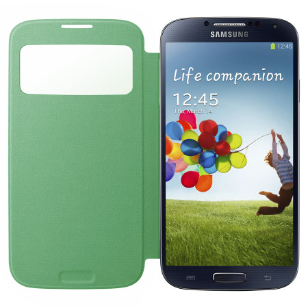 Genuine Samsung Galaxy S4 S-View Premium Cover Case - Lime Green