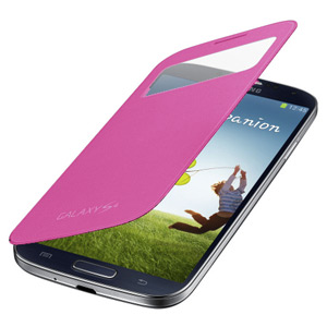 Genuine Samsung Galaxy S4 S-View Premium Cover Case - Pink