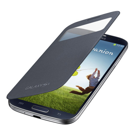 Genuine Samsung Galaxy S4 S View Cover and Screen Protector - Black