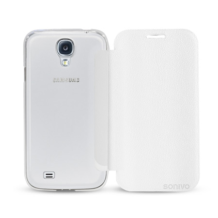Sonivo Slim Wallet Case with Sensor for Samsung Galaxy S4 - White