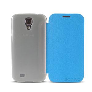 Sonivo Slim Wallet Case with Sensor for Samsung Galaxy S4 - Blue