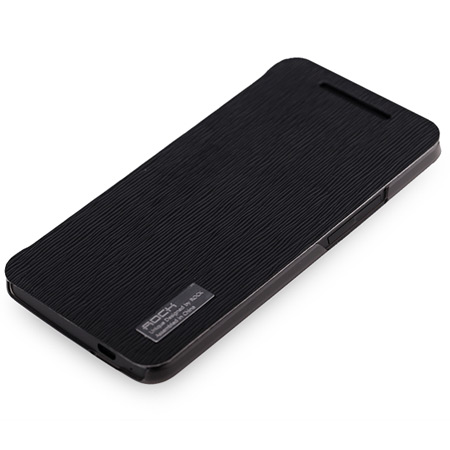 Rock Elegant Side Flip Case For HTC One M7 - Black